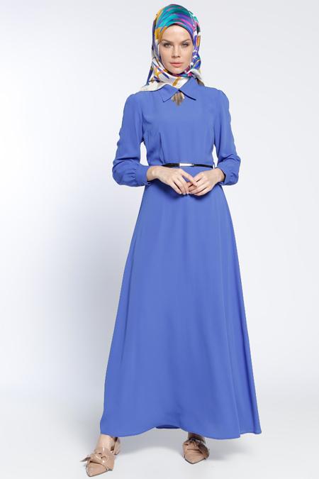 Eva Fashion Saks Kemerli Elbise