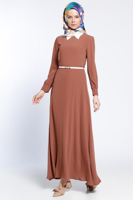 Eva Fashion Taba Kemerli Elbise