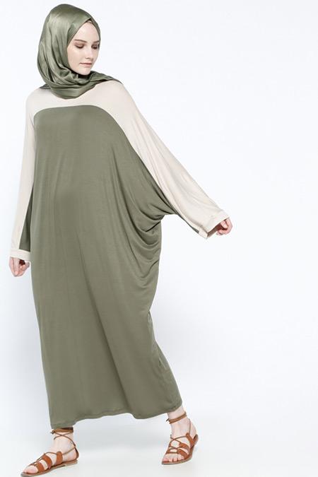 Everyday Basic Bej Haki Doğal Kumaşlı Garnili Elbise