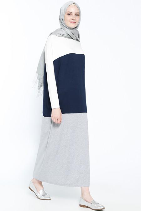Everyday Basic Ekru Lacivert Doğal Kumaşlı Garnili Elbise