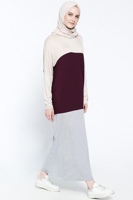 Everyday Basic Ekru Mürdüm Doğal Kumaşlı Garnili Elbise