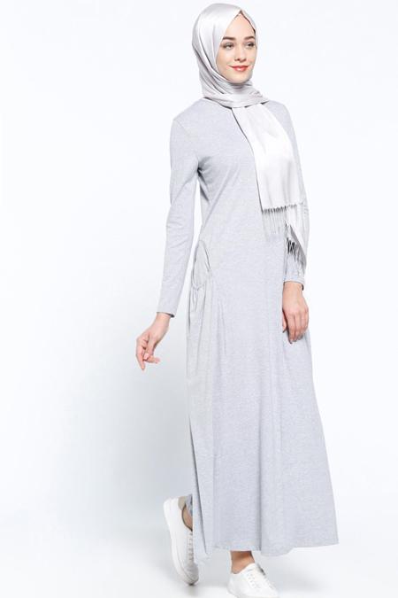 Everyday Basic Gri Cep Detaylı Elbise