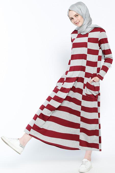Everyday Basic Gri Mürdüm Cep Detaylı Salaş Elbise