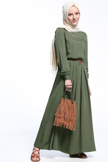 Everyday Basic Haki Natural Kumaşlı Pile Detaylı Elbise