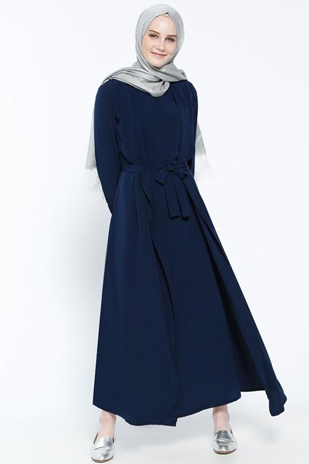 Everyday Basic Lacivert Beli Bağcıklı Elbise