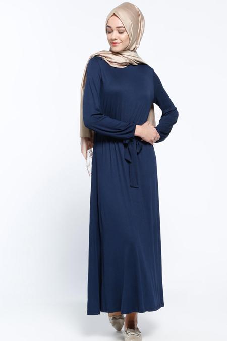 Everyday Basic Lacivert Beli Lastikli Elbise