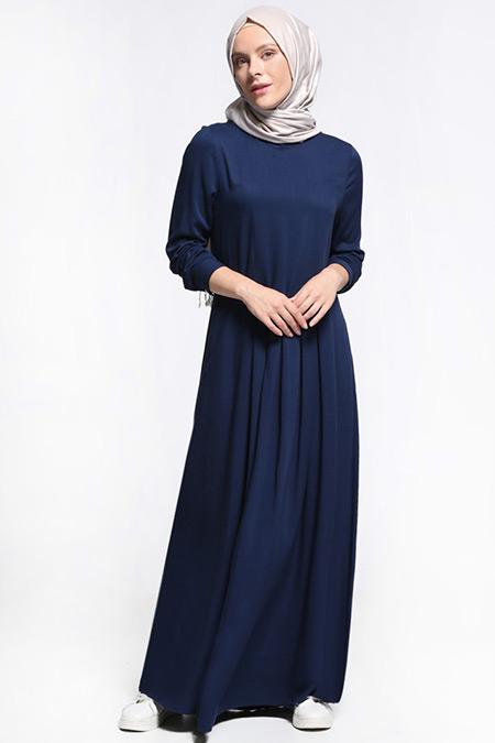 Everyday Basic Lacivert Natural Kumaşlı Pile Detaylı Elbise