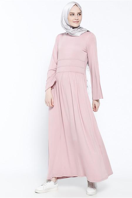 Everyday Basic Pudra Doğal Kumaşlı Elbise
