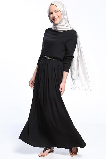 Everyday Basic Siyah Natural Kumaşlı Pile Detaylı Elbise