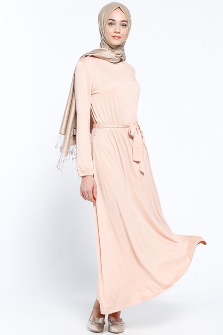 Everyday Basic Somon Beli Lastikli Elbise