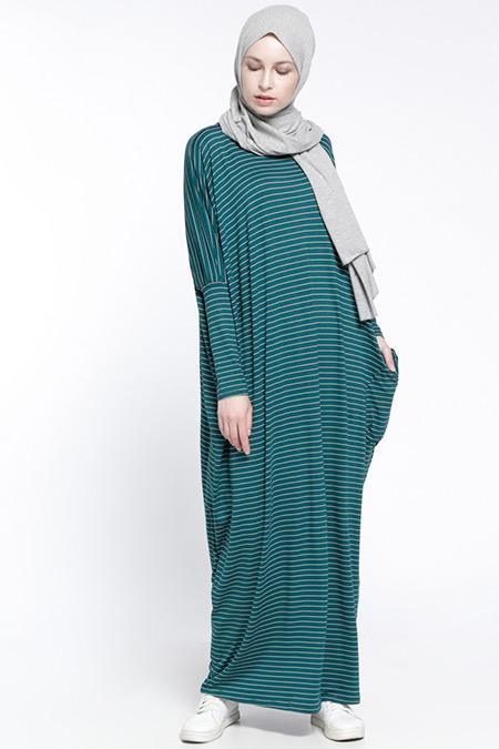 Everyday Basic Yeşil Çizgili Salaş Elbise