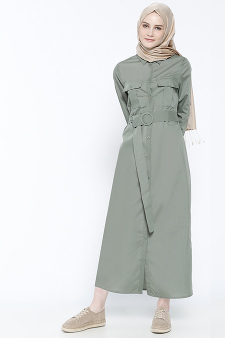 Everyday Basic Yeşil Boydan Düğmeli Elbise