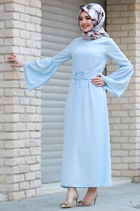 Gamze Özkul Bebe Mavi Kuşaklı Elbise