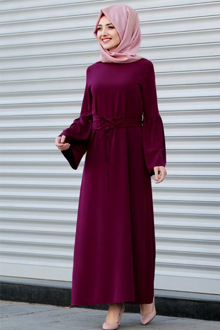 Gamze Özkul Fuşya Kuşaklı Elbise
