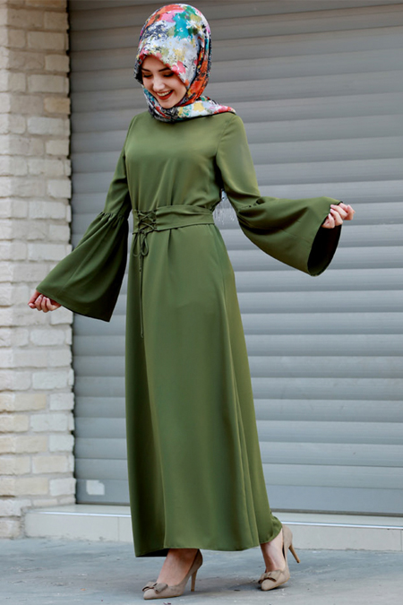 Gamze Özkul Haki Kuşaklı Elbise