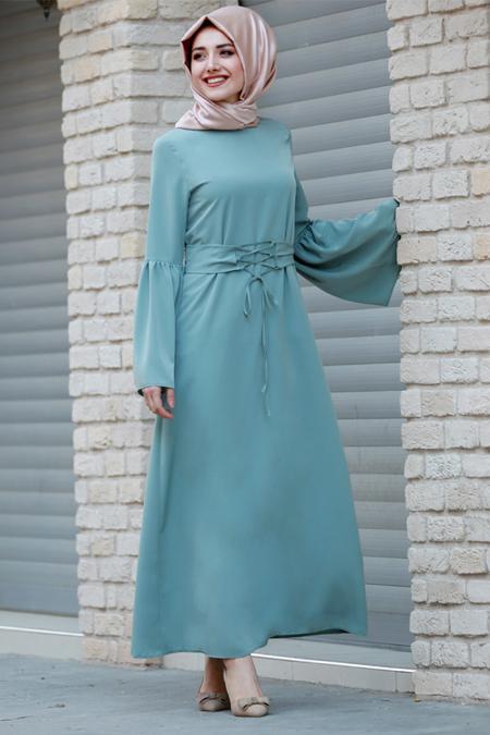 Gamze Özkul Koyu Mint Yeşili Kuşaklı Elbise
