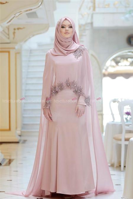 Gönül Kolat Somon Pelerin Elbise