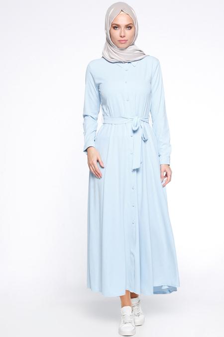 İLMEK TRİKO Bebe Mavi Boydan Düğmeli Elbise