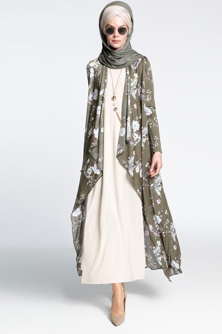 İnşirah Haki İkili Elbiseli Takım