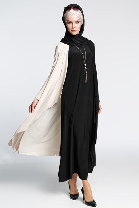 İnşirah Siyah İkili Elbiseli Takım