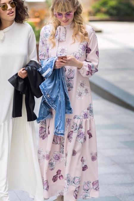 Kevsersarioglu Çiçekli Lila Uzun Salaş Elbise