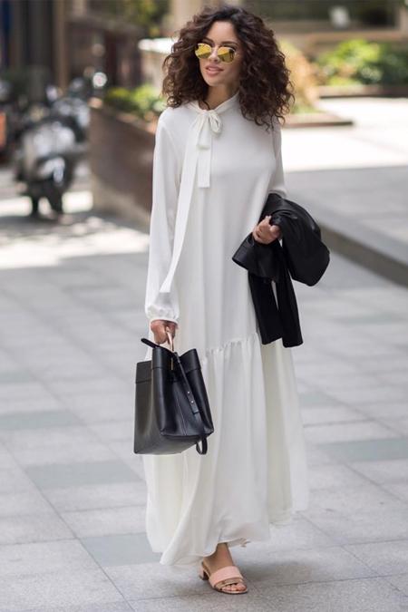Kevsersarioglu Düz Astarlı Uzun Beyaz Elbise