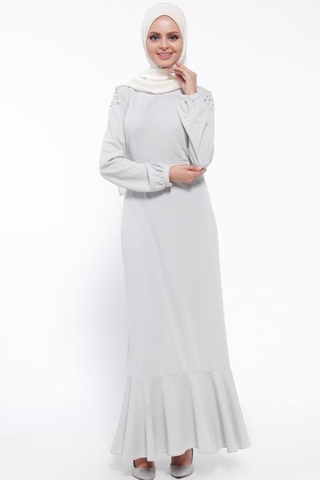 LOREEN Gri İncili Elbise