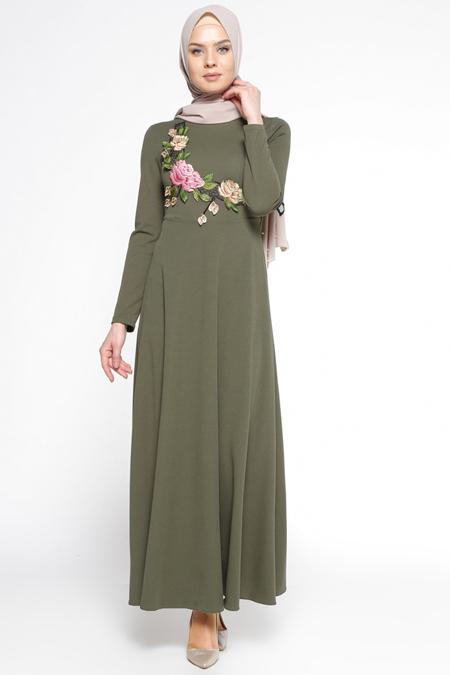 LOREEN Haki Nakış Detaylı Elbise