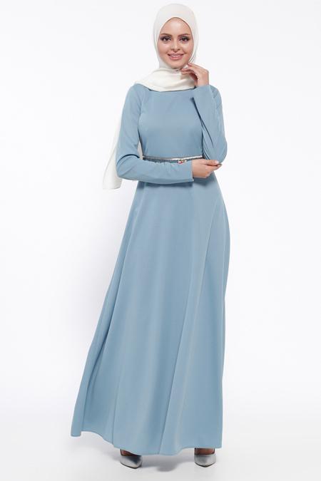 LOREEN İndigo Bel Detaylı Elbise