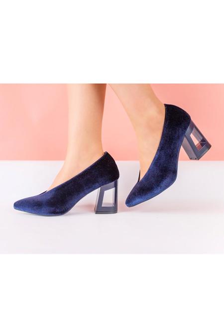 Marcatelli Lacivert Kadife Topuklu Ayakkabı