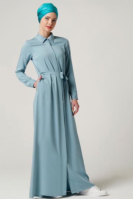 Milda Store Mavi Gömlek Elbise