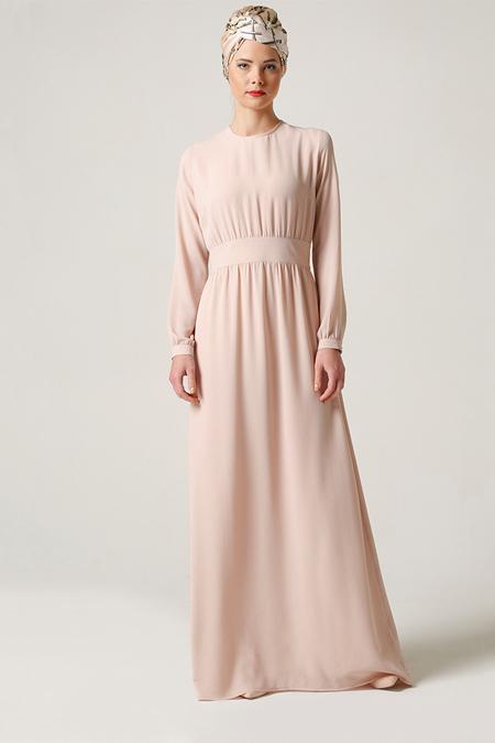Milda Store Pudra Beli Büzgülü Elbise