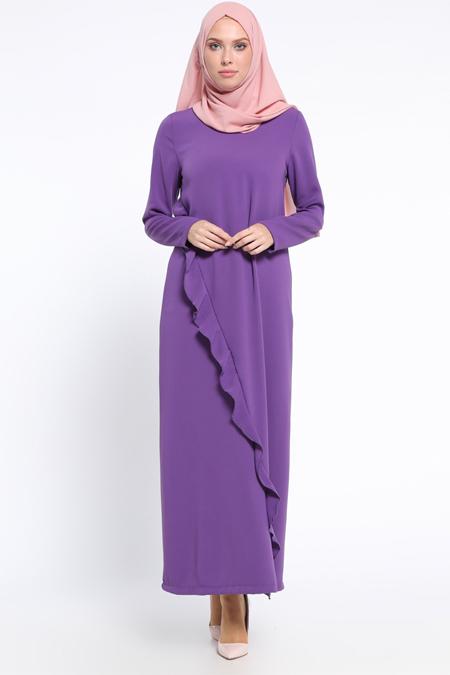 Neways Mor Fırfır Detaylı Elbise