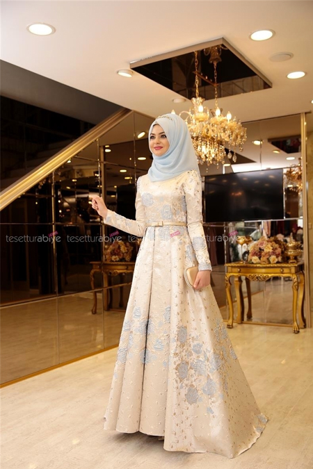 Pınar Şems Mavi Güleda Abiye