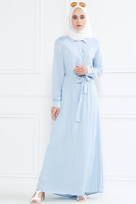 Refka Bebe Mavi Doğal Kumaşlı Puantiyeli Elbise