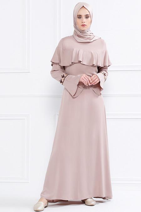 Refka Bej Volan Detaylı Nakışlı Elbise
