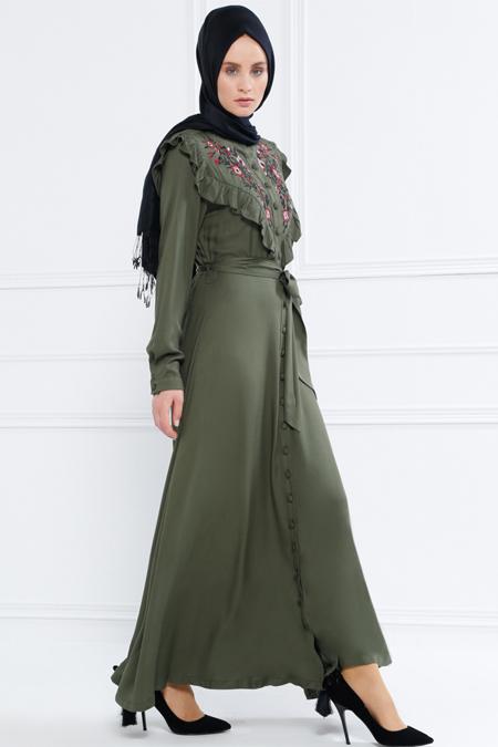Refka Haki Naturel Kumaşlı Nakışlı Elbise