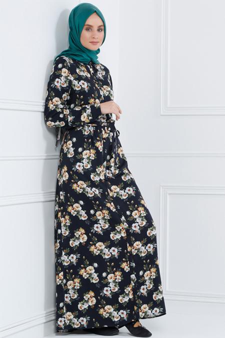 Refka Lacivert Naturel Kumaşlı Floral Desenli Elbise