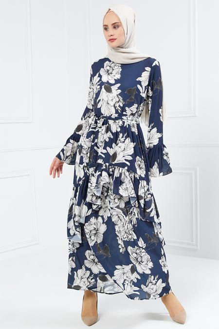 Refka Lacivert Volan Detaylı Desenli Elbise