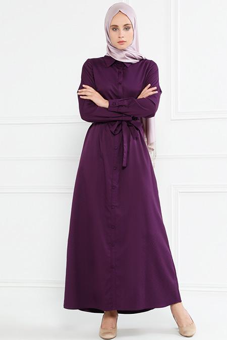 Refka Mürdüm Düğmeli Elbise