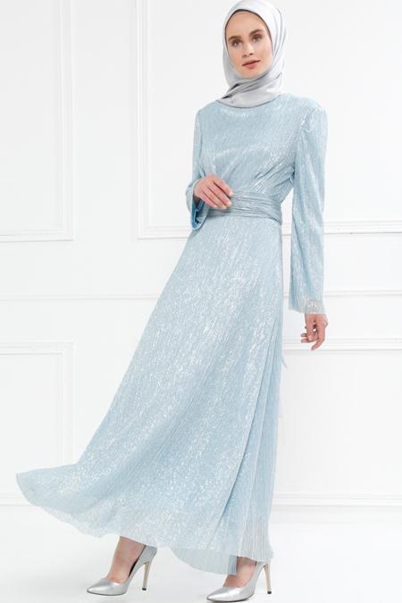 Refka Mavi Pile Detaylı Simli Elbise