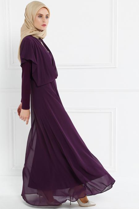 Refka Mürdüm Şifon Parçalı Elbise