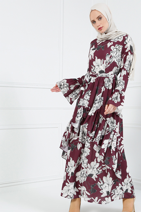 Refka Mürdüm Volan Detaylı Desenli Elbise