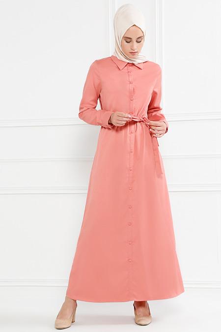 Refka Pudra Düğmeli Elbise