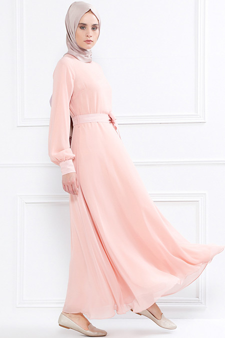 Refka Pudra Kuşaklı Şifon Elbise