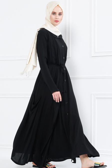 Refka Siyah Naturel Kumaşlı Boydan Düğmeli Elbise