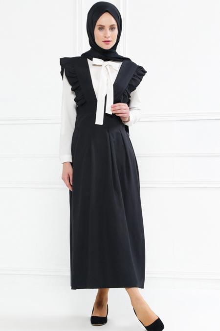 Refka Siyah Salopet Elbise