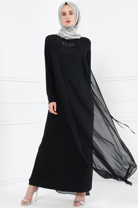 Refka Siyah Şifon Detaylı Elbise