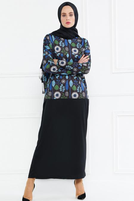 Refka Yeşil Lacivert Garnili Elbise