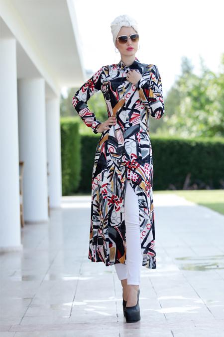 Selma Sarı Design Antrasit Art Cepli Uzun Tunik